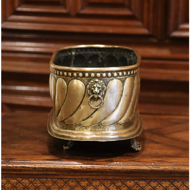 19th Century French Brass Cache-Pot With Lion Head Handles and Repousse Decor For Sale In Dallas - Image 6 of 12