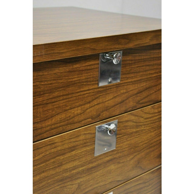 Mid 20th Century Vintage Mid Century Modern Walnut & Chrome 9 Drawer Credenza Dresser With Mirror For Sale - Image 5 of 12