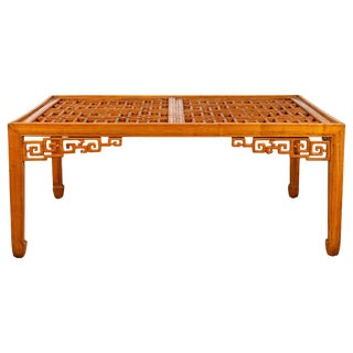 Chinese Elmwood Square Coffee Table With Open Fretwork and Horse-Hoof Legs For Sale