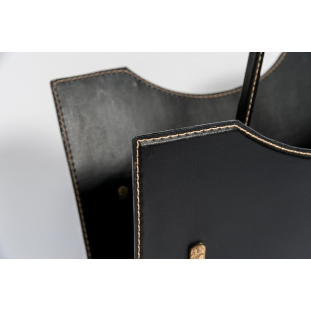 Jacques Adnet Stitched Leather Magazine Rack by Jacques Adnet For Sale - Image 4 of 8
