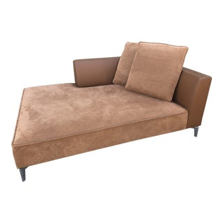 Mid-Century Modern Ligne Roset Brown Leather Opium Chaise