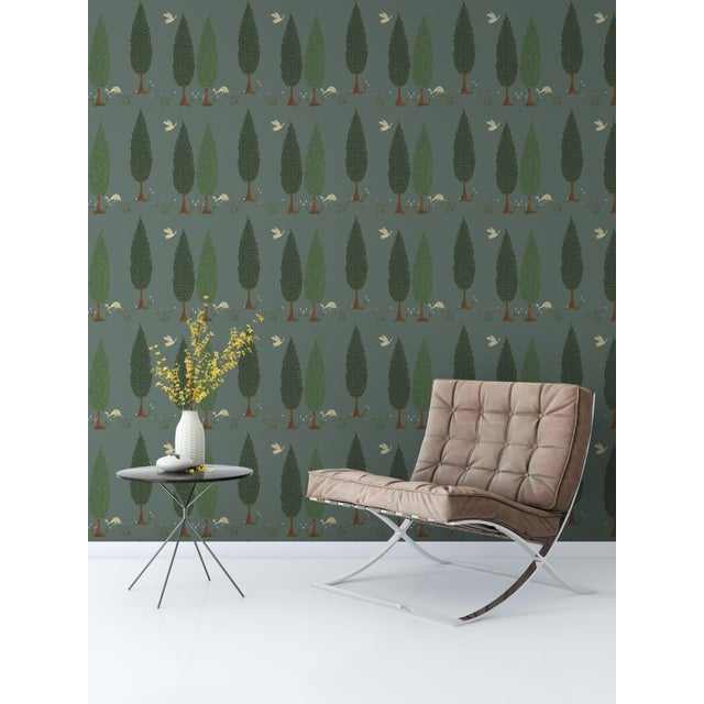 Tranquility Wallpaper in Asparagus Green, Sample For Sale - Image 4 of 7