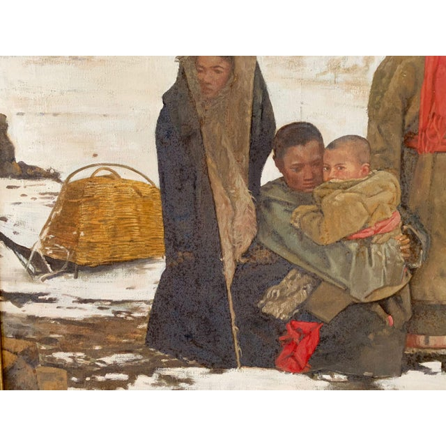 Canvas 1990s Maquan Mongol Family Original Oil Painting For Sale - Image 7 of 9