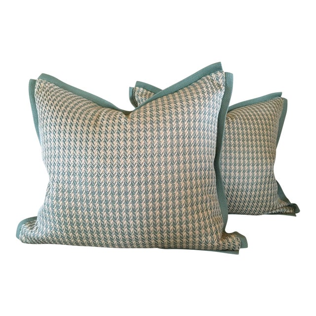 Aqua Houndstooth Pillow Covers - A Pair For Sale