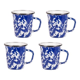 Latte Mugs Cobalt Swirl - Set of 4 For Sale