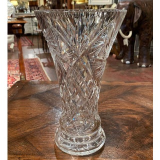 Midcentury Clear Cut Crystal Trumpet Vase With Geometric and Sun Motifs Preview