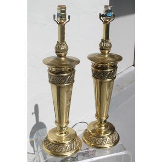 Mid-Century Stiffel Floral Brass Torchieres/ Lamps - a Pair Preview
