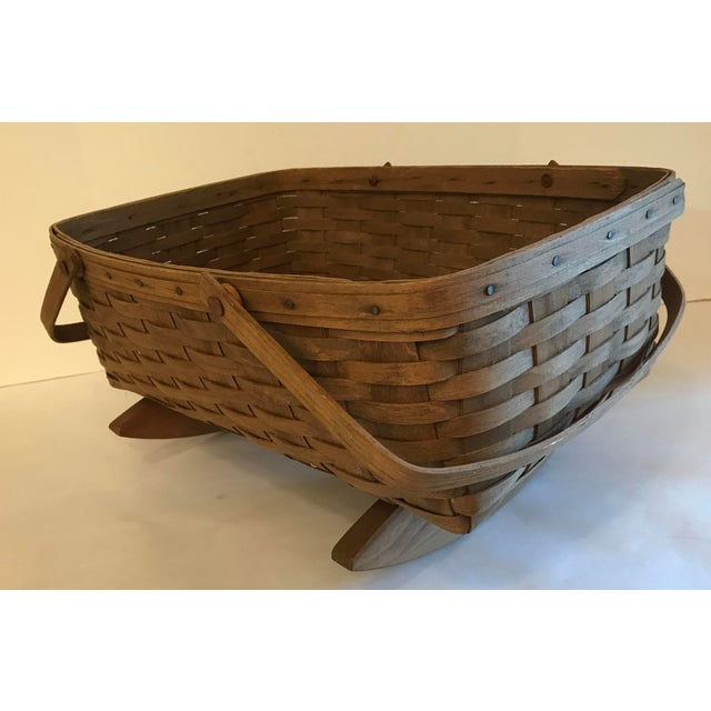 Vintage Longaberger Cradle Basket For Sale - Image 4 of 9