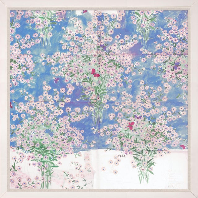 Contemporary Paule Marrot, Papillons Et Margeurites, Framed Artwork For Sale - Image 3 of 3