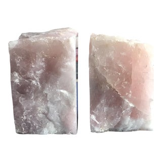 Rose Quartz Bookends - a Pair For Sale