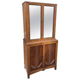 1930s Deco Walnut Apothecary Cabinet For Sale