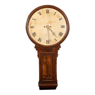 19th Century George III Walnut Tavern Wall Clock For Sale