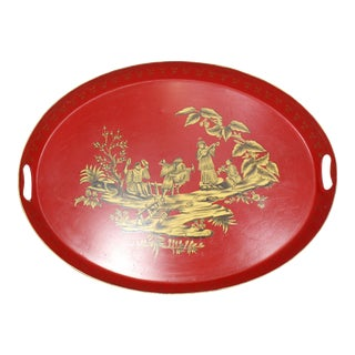 Large 20th Century English Red & Gold Lacquered Oval Chinoiserie Tole Tray For Sale