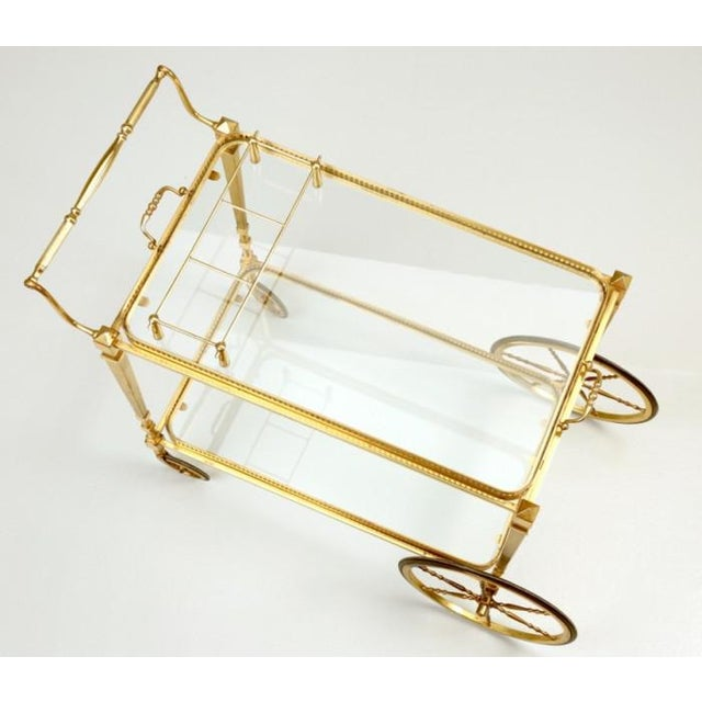 Vintage French Brass Bar Cart With Tray For Sale - Image 10 of 11