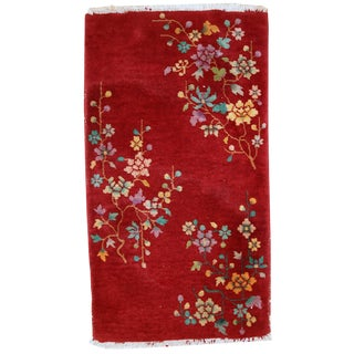 1920s Antique Chinese Art Deco Hand Made Rug - 2' X 3'6'' For Sale