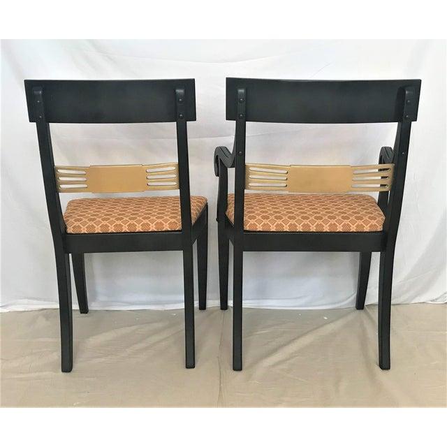 Hollywood Regency 1940s Regency Klismos Parcel Gilt Dining Chairs - Set of 6 For Sale - Image 3 of 7