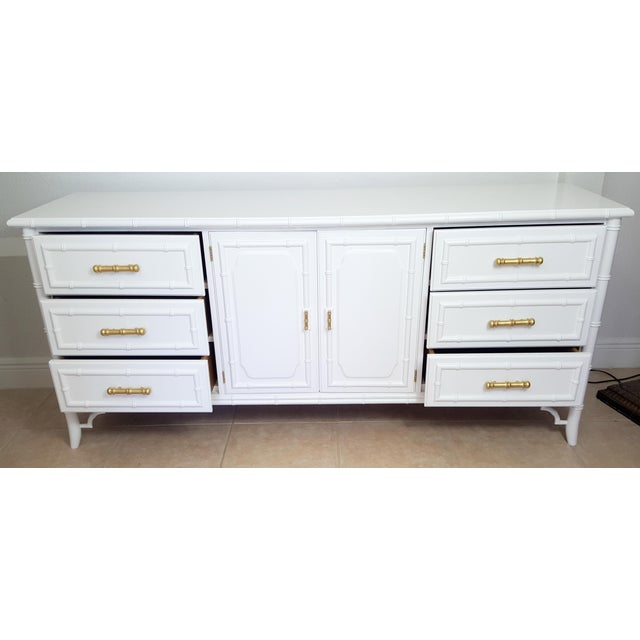 Late 20th Century Dixie Aloha Faux Bamboo 9 Drawer Dresser For Sale - Image 5 of 10