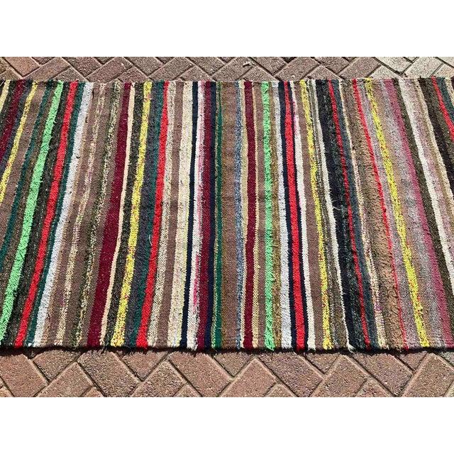 Green Vintage Striped Turkish Kilim Rug For Sale - Image 8 of 10