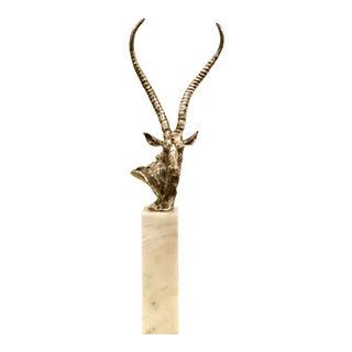 Modern Antiqued Silver Gazelle Sculpture on a Marble Pedestal For Sale