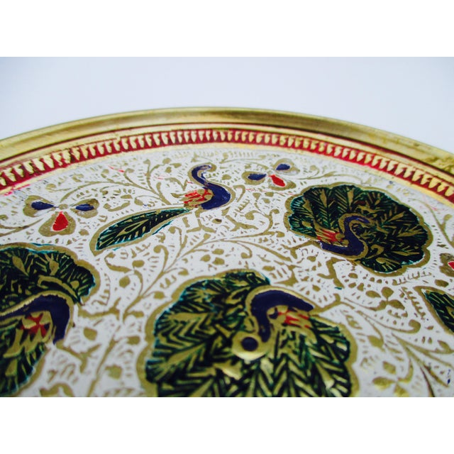 Enamel and Brass Peacock Trinket Dish Bowls - Set of 5 - Image 7 of 11