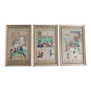 1970s Vintage Persian Miniature Fabric Prints - Set of 3 For Sale