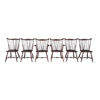 1950s British Colonial Tell City Set of 6 Solid Cherry Windsor Dining Chairs - Set of 6 For Sale