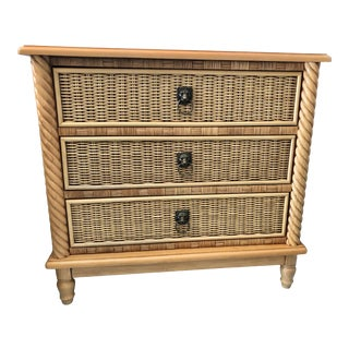 Boho Chic Wicker and Wrapped Rattan Nightstand For Sale