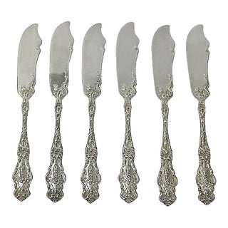 Antique Wallace Sterling Silver Butter Knives - S/6 For Sale