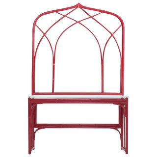 Vanity Table With Large Mirror in Red Lacquered Bamboo For Sale