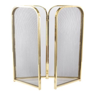 Late 20th Century Gilt Brass Framed / Black Mesh Fire Place Screen For Sale
