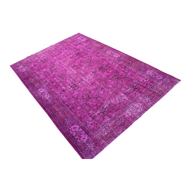 Hot Pink Overdyed Hand Woven Rug - 6′10″ × 10′1″ - Image 1 of 7