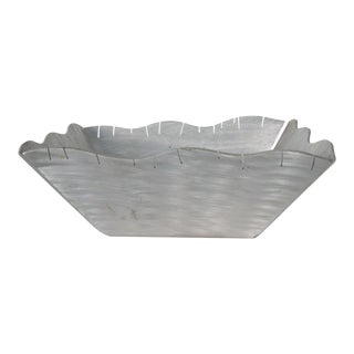 Scalloped Serving Dish Fruit Bowl in Aluminum Mid-Century Modern, 1960s For Sale