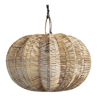 "Split Raw Rattan Pumpkin Lantern 24"" For Sale"
