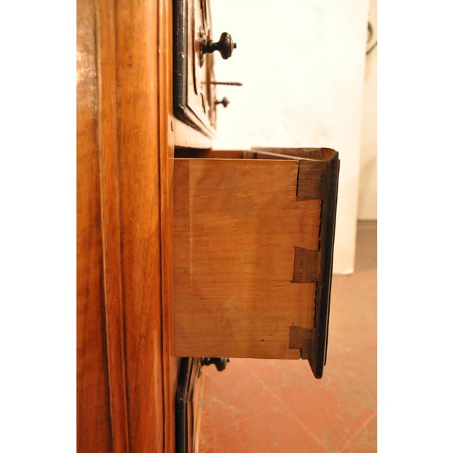 Late 18th Century 18th Century French Louis XV Carved Walnut Folding Top Secretary Bookcase For Sale - Image 5 of 8