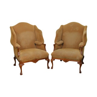 Pearson Large Custom Upholstered Claw Foot Wing Chairs - a Pair