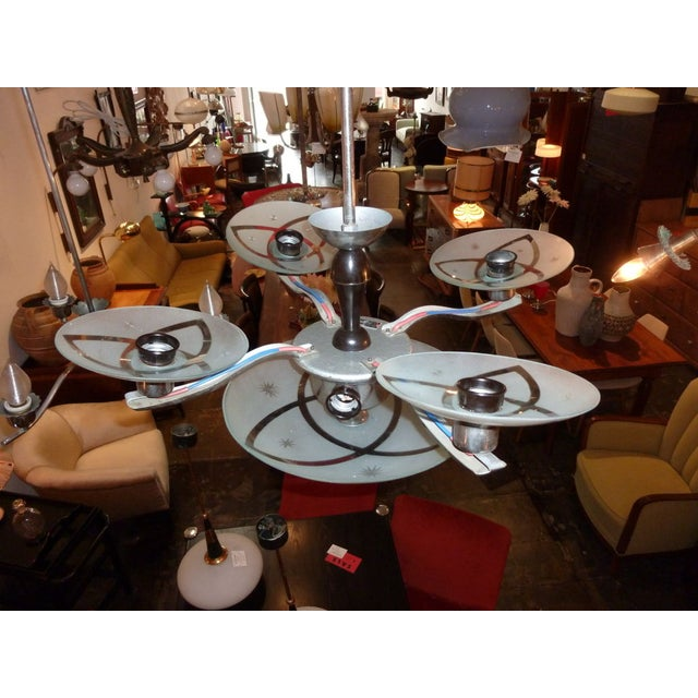 1930s Hungarian Art Deco Chandelier For Sale - Image 5 of 5