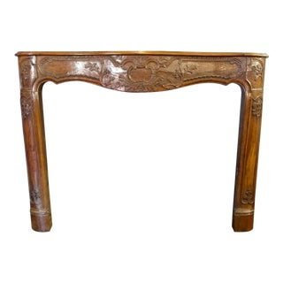 19th Century Hand Carved Walnut Fireplace Mantel
