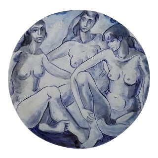 1984 Figurative H. Lurie Hand Painted Three Nude Females Wall Plaque For Sale
