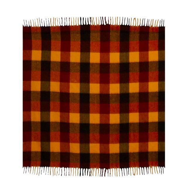 Vintage Faribo Yellow, Orange & Brown Plaid Wool Blanket For Sale