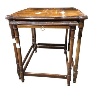 1960's Traditional Burl Walnut Parquet Nesting Tables - Set of 2 For Sale