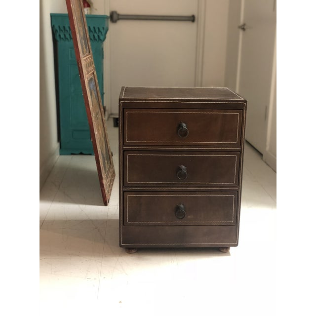 Mid-Century Modern Brown Leather Chest of Drawers For Sale - Image 9 of 9
