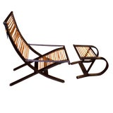 Image of David Colwell Trannon C1 Reclining Lounge Chair and Ottoman Rattan For Sale