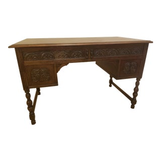 1940s Antique Traditional Wooden Desk For Sale