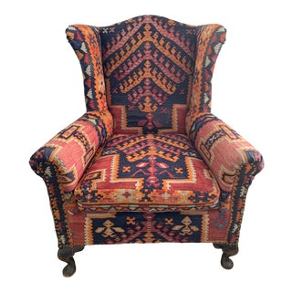 Kilim Wingback Chair For Sale