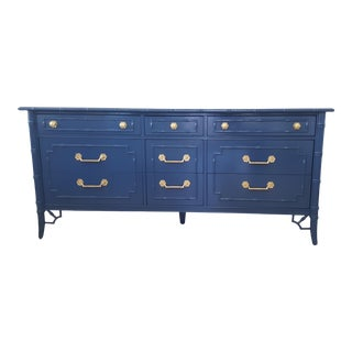 Thomasville Fretwork Allegro Navy Blue Faux Bamboo Lowboy For Sale