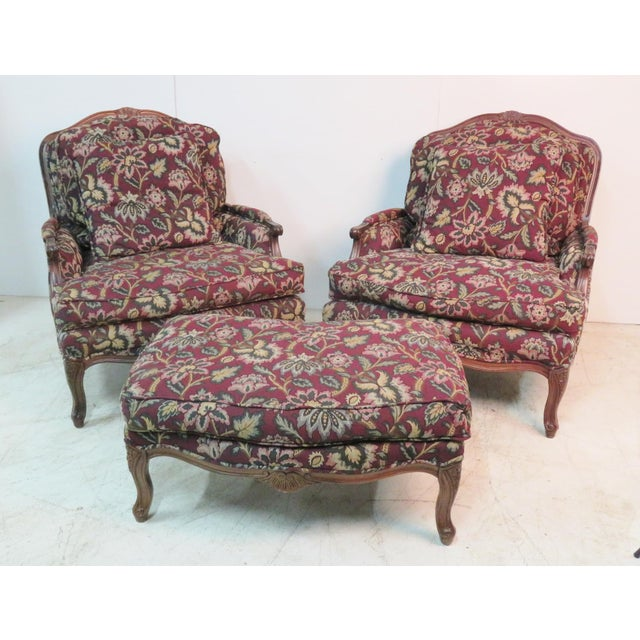 Textile Louis XV Style Walnut Bergeres With Ottoman - Set of 3 For Sale - Image 7 of 7