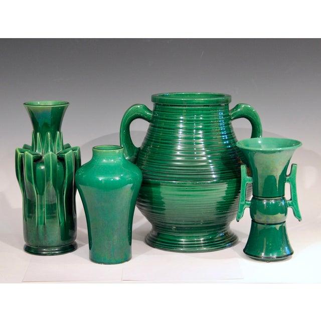 1910s Awaji Pottery Organic Arts & Crafts Petal Handle Green Monochrome Vase For Sale - Image 11 of 12