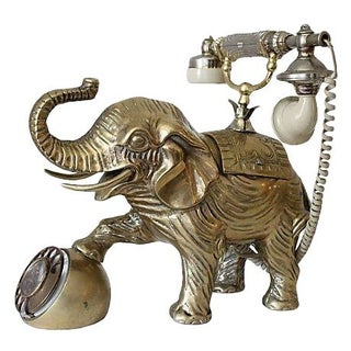 Brass Elephant Rotary Phone