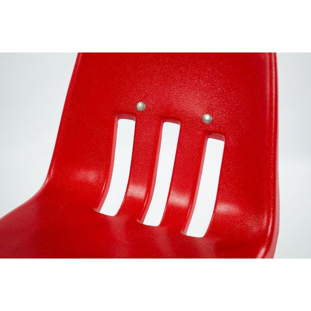Virco Mid-Century Red Stacking School Chairs - Set of 4 For Sale In Atlanta - Image 6 of 12