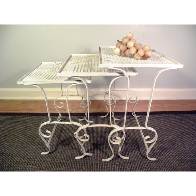 White Metal Nesting Tables - Set of 3 - Image 8 of 8